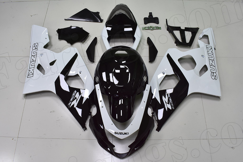 2004 2005 Suzuki GSX-R600, GSX-R750 black and white fairing kit.