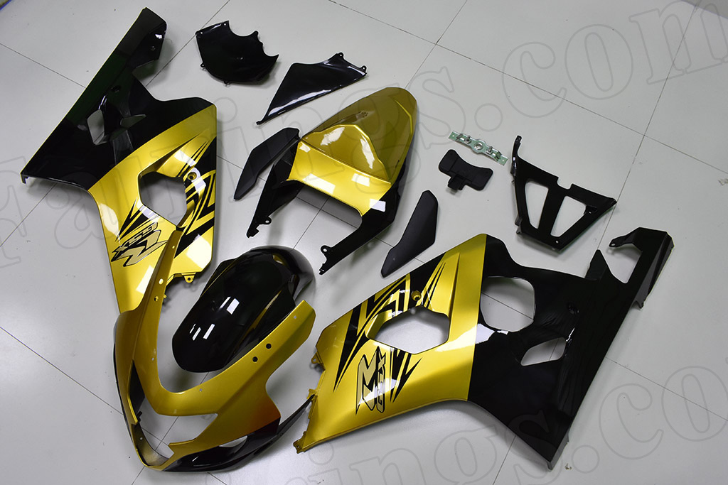 2004 2005 Suzuki GSX-R600, GSX-R750 gold and black fairings.