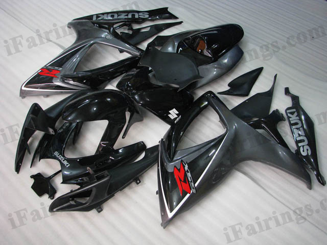 Custom fairings for 2006 2007 GSXR600/750 black and gray scheme.
