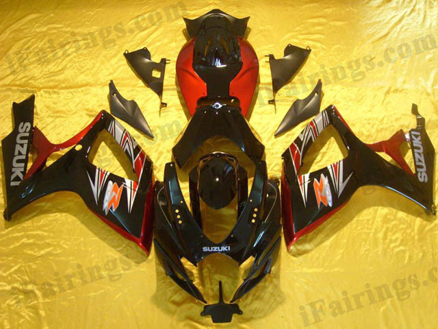 Custom fairings for 2006 2007 GSXR600/750 black and red scheme.