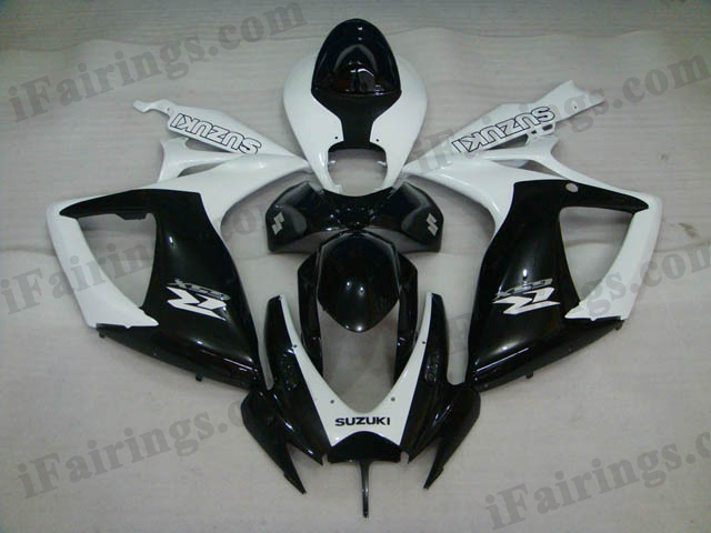Custom fairings for 2006 2007 GSXR600/750 white and black scheme.