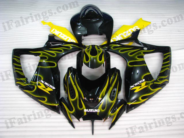 gixxer 2006 2007 GSXR600/750 black and yellow flame fairings