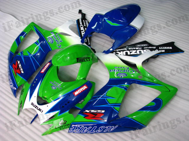 2006 2007 GSXR600/750 blue/green Corona Extra scheme fairings.