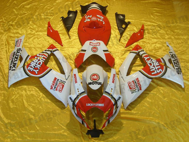 2006 2007 GSXR600/750 white/red lucky strike fairings and bodywork.