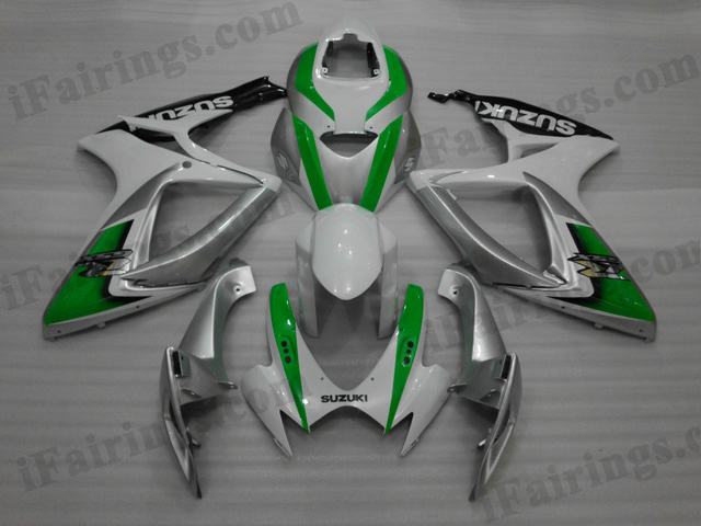 2006 2007 Suzuki GSXR600/750 white, green and silver fairing kits.