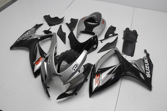 2006 2007 Suzuki GSXR600, GSXR750 silver and black fairing kits.