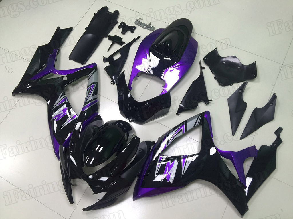 2006 2007 Suzuki GSX-R600, GSX-R750 black and purple fairings.