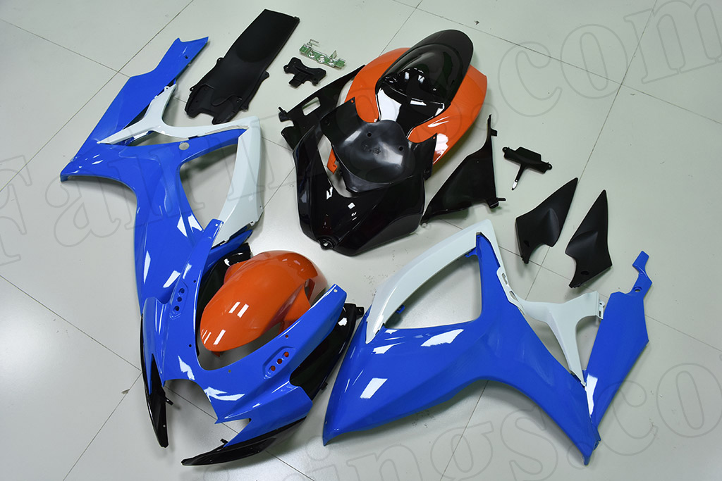 2006 2007 Suzuki GSX-R600, GSX-R750 blue and orange fairing kit.
