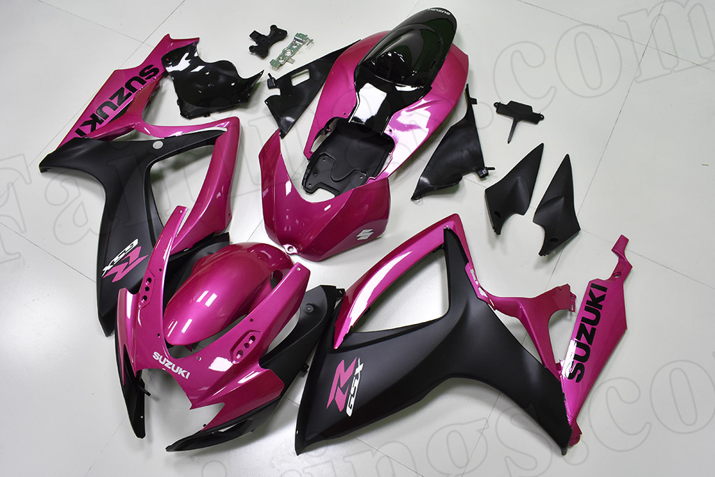 2006 2007 Suzuki GSX-R600, GSX-R750 pink and matte black fairings.