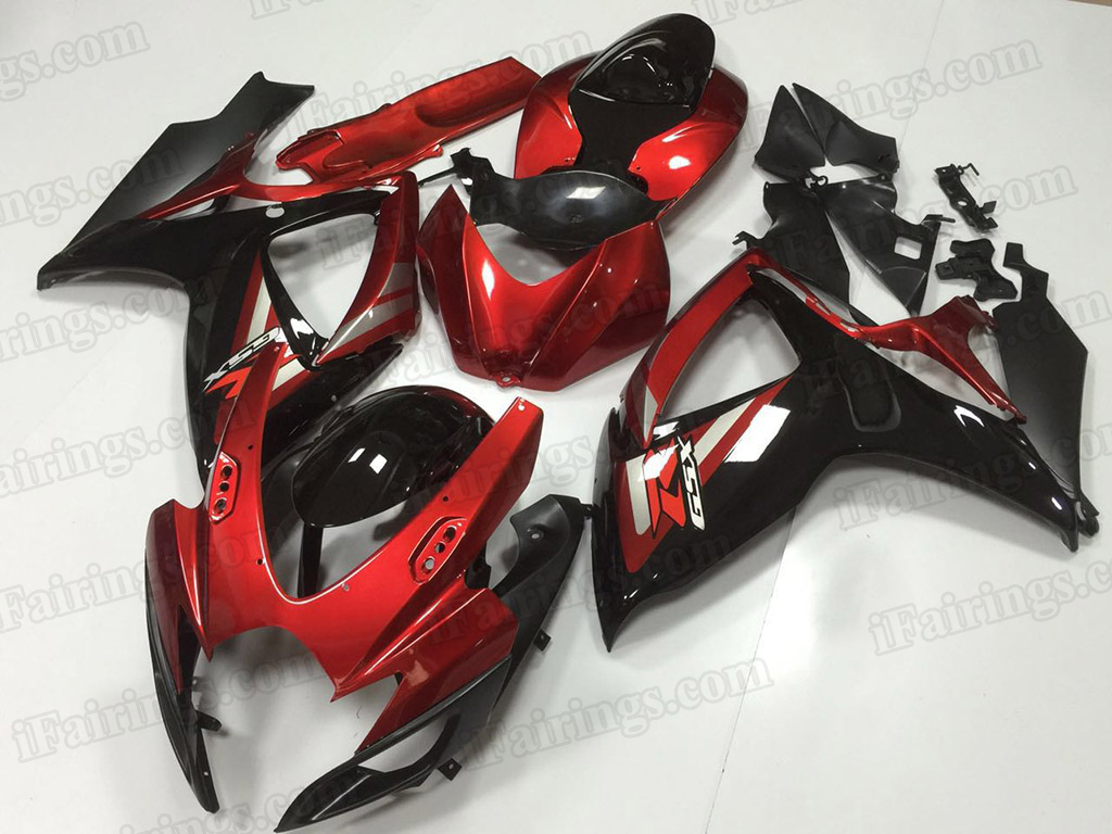 2006 2007 Suzuki GSX-R600, GSX-R750 red and black fairing kits.