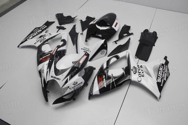 2006 2007 Suzuki GSXR600, GSXR750 white and black Corona graphic fairing kits.
