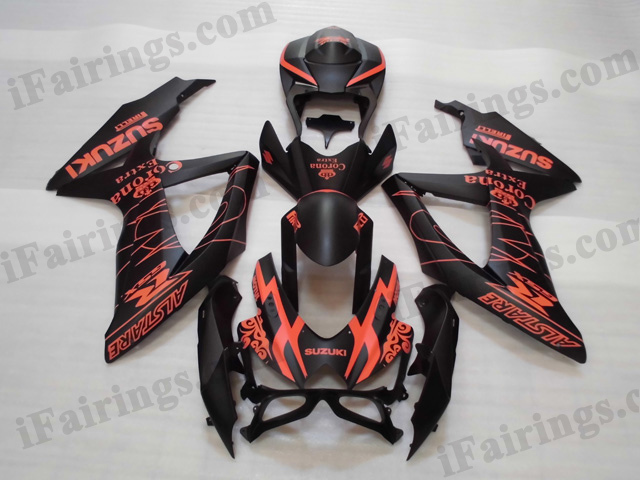 2008 2009 2010 Suzuki GSXR600/750 black and red Corona stickers fairing kits.