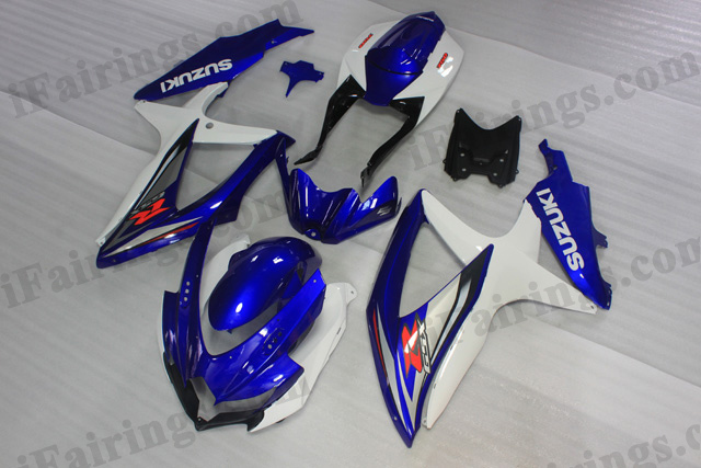 2008 2009 2010 Suzuki GSXR600/750 blue and white factory scheme fairing kits.