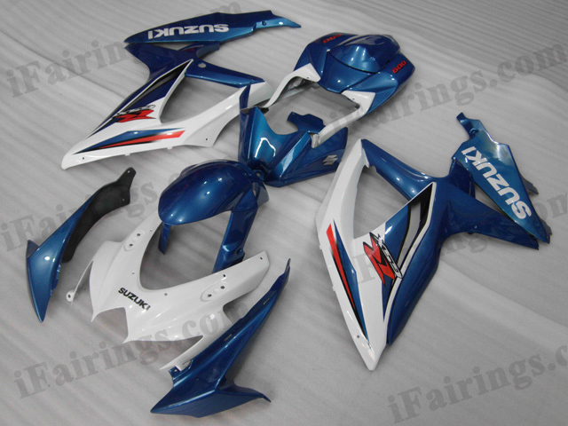 GSXR600/750 2008 2009 2010 blue and white fairings, 2008 2009 GSXR600/750 decals.