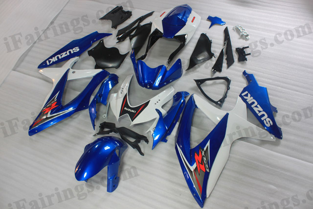 2008 2009 2010 Suzuki GSXR600/750 blue and white factory scheme fairing sets.