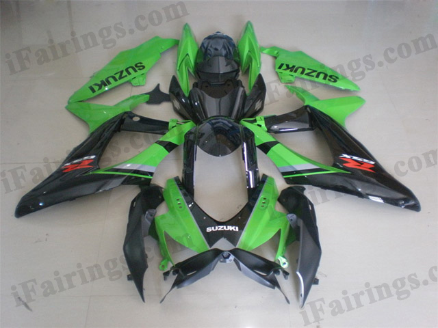 GSXR600/750 2008 2009 2010 green and black fairings, 2008 2009 GSXR600/750 decals