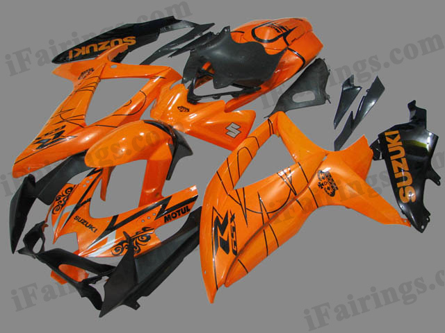 GSXR600/750 2008 2009 2010 orange and black fairings, 2008 2009 GSXR600/750 decals.
