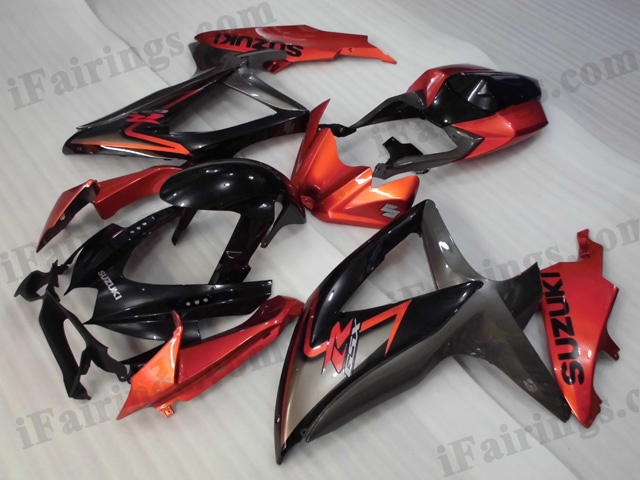2008 2009 2010 Suzuki GSXR600/750 orange, grey and black fairing kits.