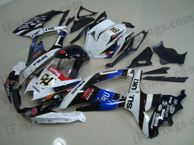 Gixxer fairings for 2008 2009 2010 GSXR600/750 white/black VIRU decals.