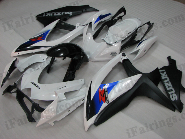 2008 2009 2010 Suzuki GSXR600/750 white and black fairing kits.