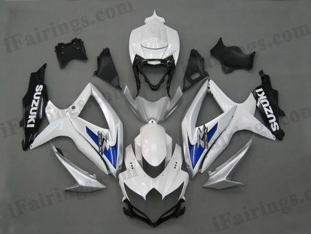 gixxer 2008 2009 2010 GSXR600/750 white and silver fairings