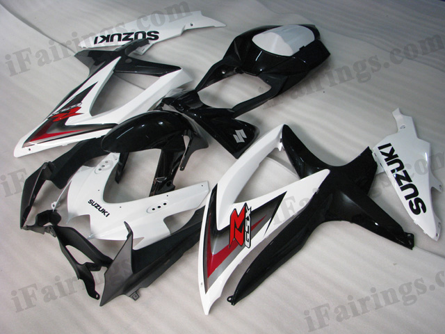 2008 2009 2010 Suzuki GSXR600/750 white and black fairing sets.