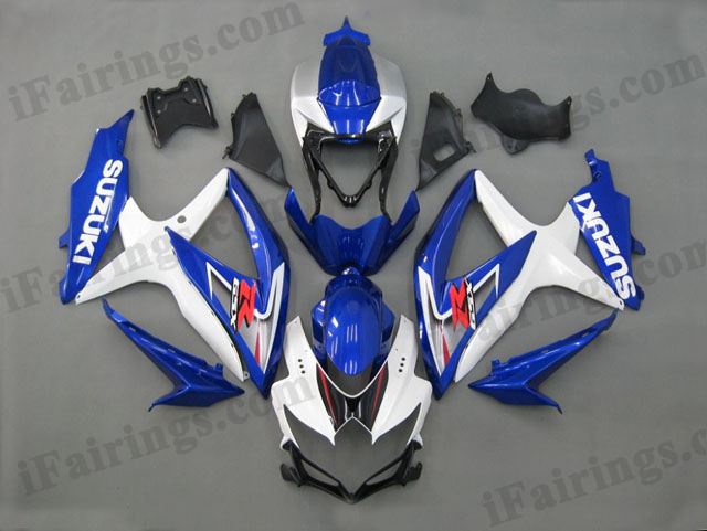 gixxer 2008 2009 2010 GSXR600/750 white and blue fairings