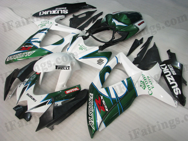 Gixxer fairings for 2008 2009 2010 GSXR600/750 white/green Corona Extra scheme