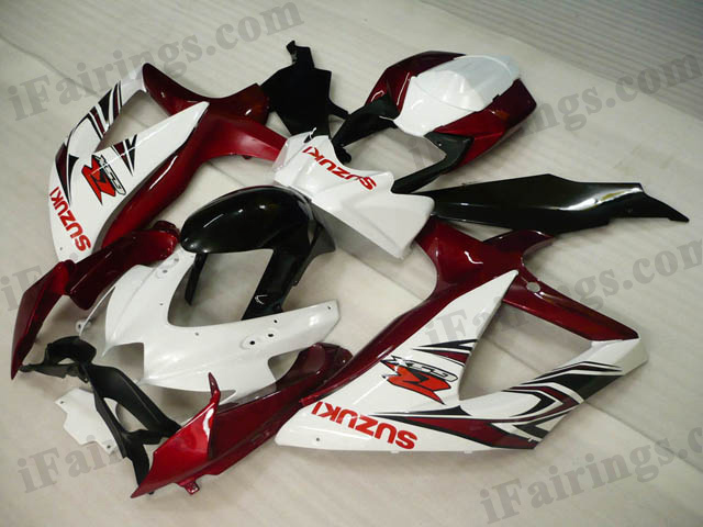 GSXR600/750 2008 2009 2010 red,white and black fairings, 2008 2009 GSXR600/750 decals.