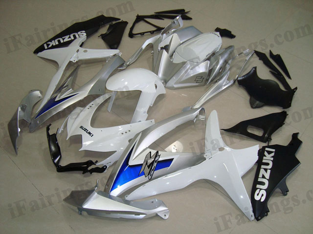 gixxer 2008 2009 2010 GSXR600/750 white and silver fairing