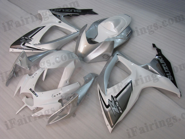 2008 2009 2010 Suzuki GSXR600/750 white, silver and black fairing kits.