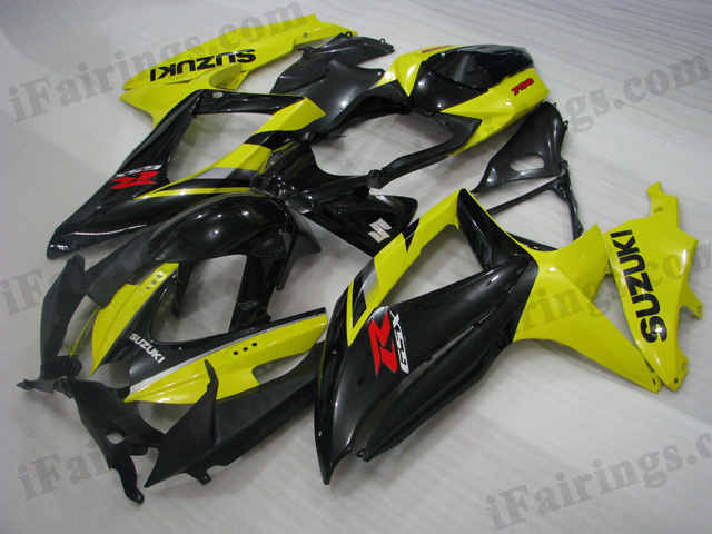 GSXR600/750 2008 2009 2010 yellow and black fairings, 2008 2009 GSXR600/750 decals.