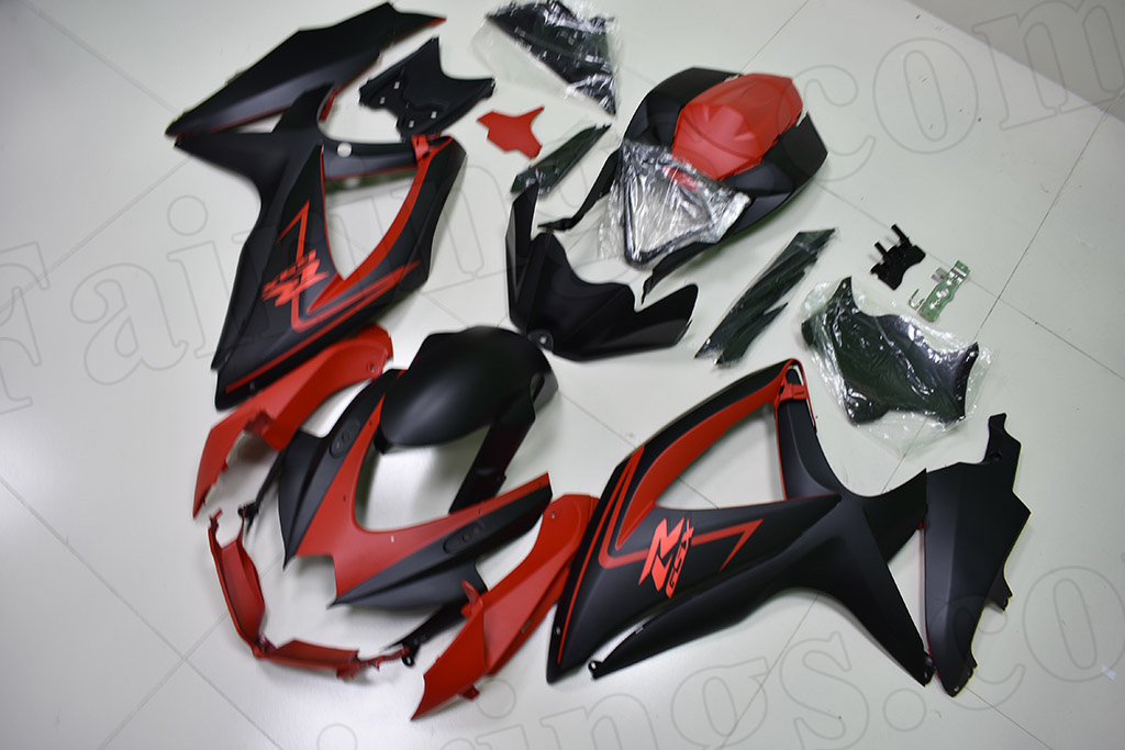 2008 2009 2010 Suzuki GSXR600, GSXR750 black and red fairings.