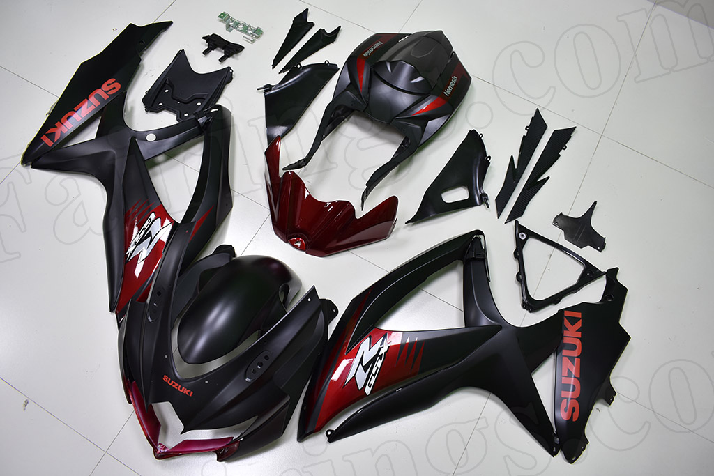 2008 2009 2010 Suzuki GSXR600, GSXR750 matte black fairings with red graphic.