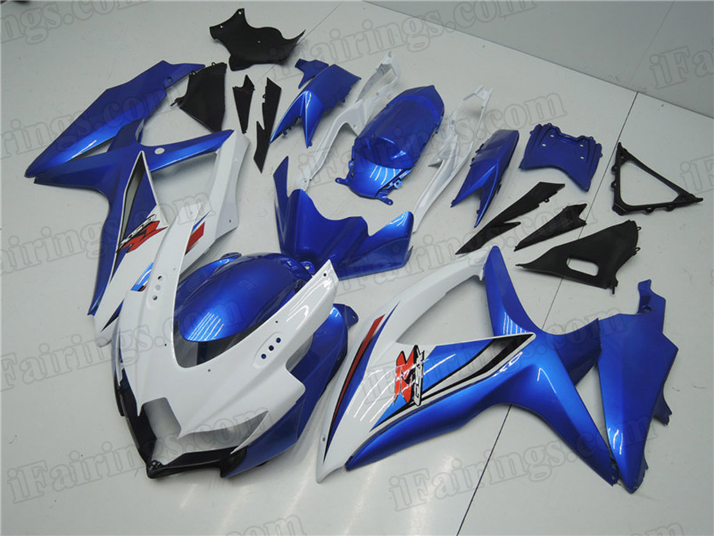 2008 2009 2010 Suzuki GSXR600, GSXR750 white and blue fairings.