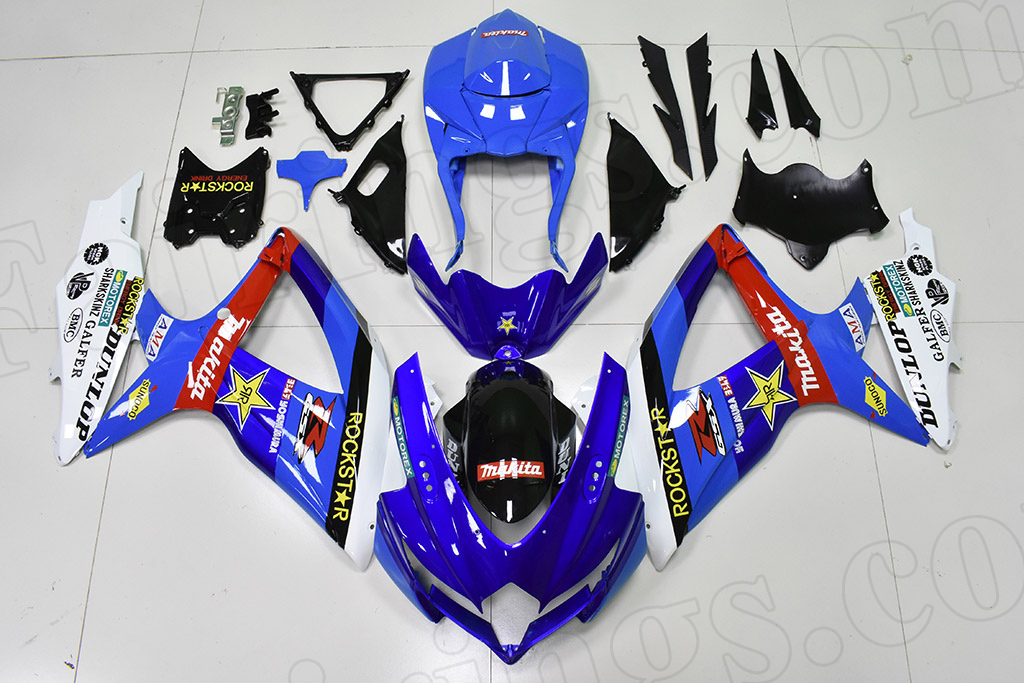 2008 2009 2010 Suzuki GSXR600, GSXR750 blue fairings.