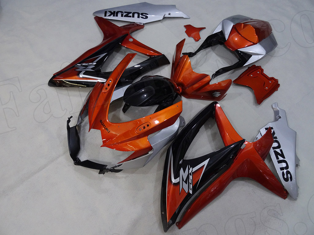 2008 2009 2010 Suzuki GSXR600, GSXR750 orange and silver fairings.