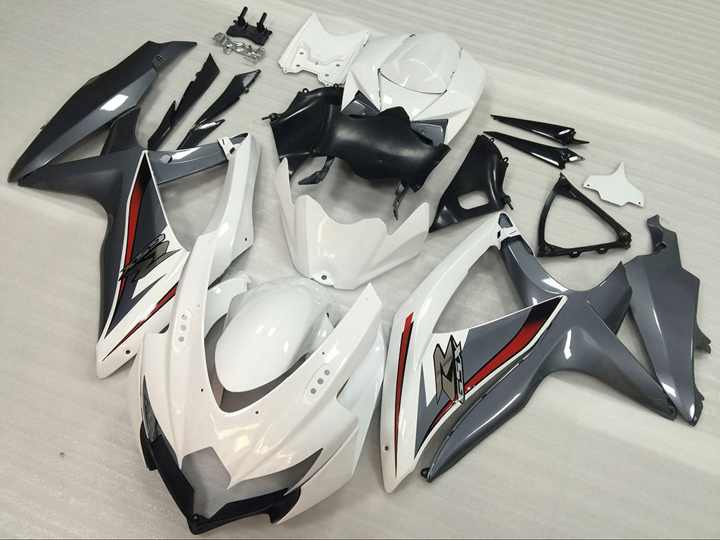 2008 2009 2010 Suzuki GSXR600, GSXR750 white and grey fairings.