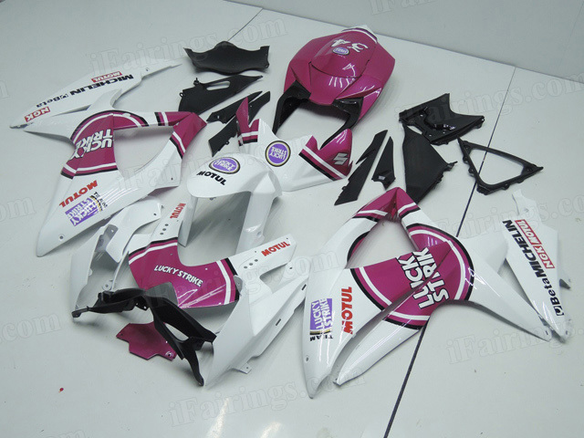 2008 2009 2010 Suzuki GSXR600, GSXR750 white/purple lucky strike fairing kits.