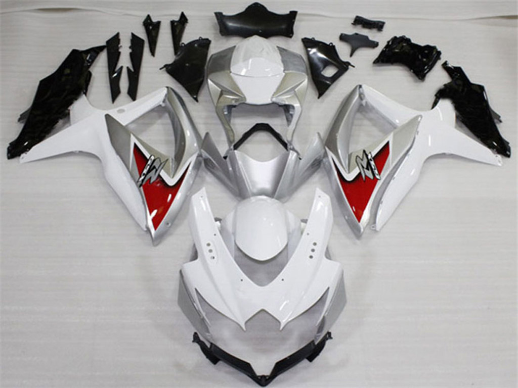 2008 2009 2010 Suzuki GSXR600, GSXR750 white and silver fairings.