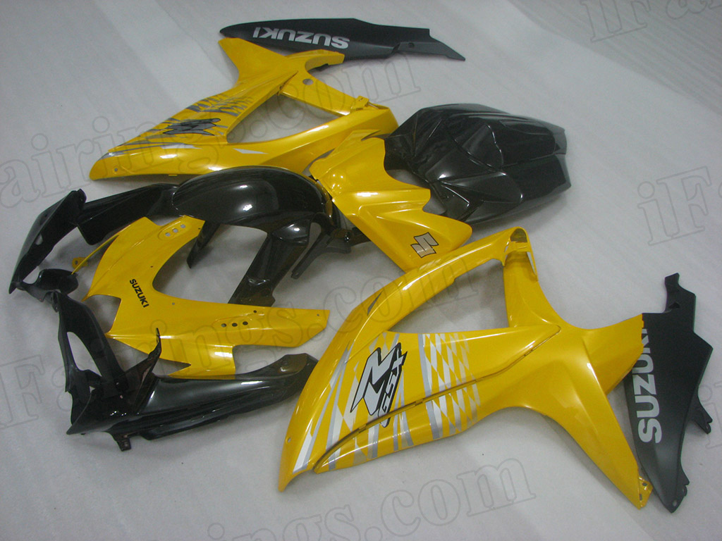 2008 2009 2010 Suzuki GSXR600, GSXR750 yellow and black fairing set.