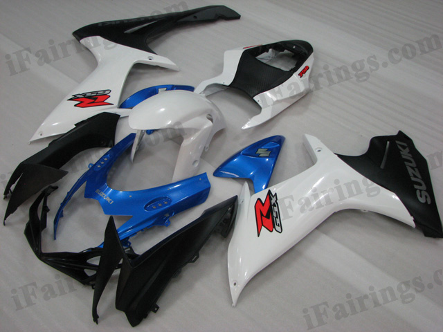 2011 2012 2013 2014 Suzuki GSXR600/750 blue, white and black fairing kits.