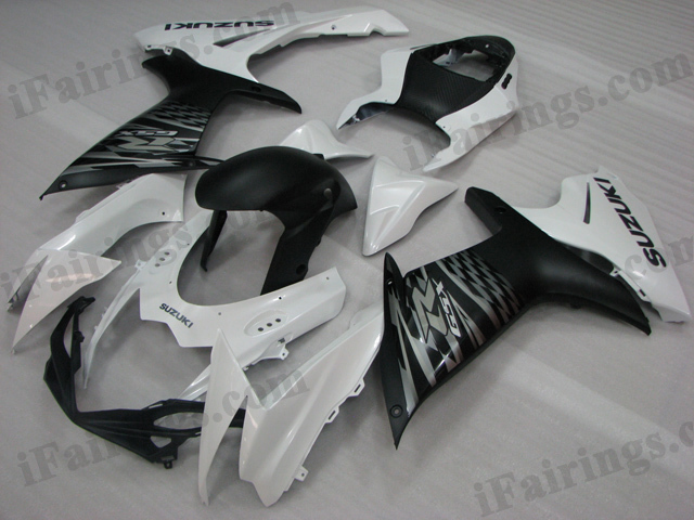 2011 2012 2013 2014 Suzuki GSXR600/750 white and black fairing kits.