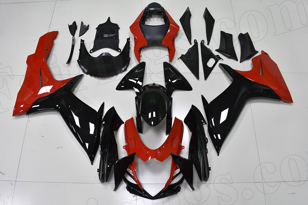 2011 to 2018 Suzuki GSX-R600/750 black and red fairings.