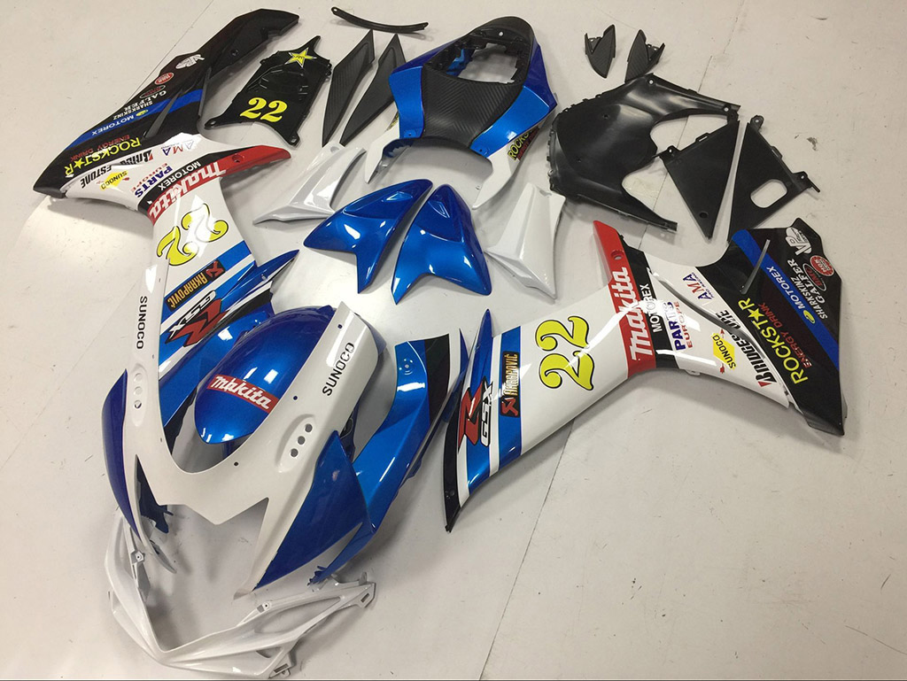 2011 to 2018 Suzuki GSX-R600/750 white and blue fairings.
