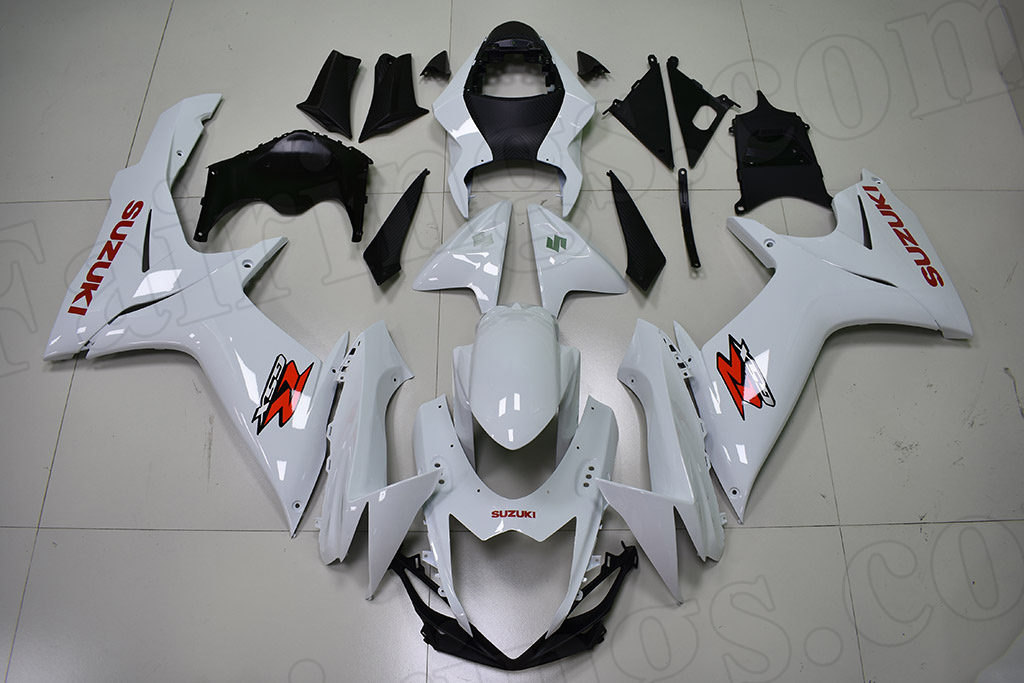 2011 to 2018 Suzuki GSX-R600/750 pearl white fairings with red stickers.