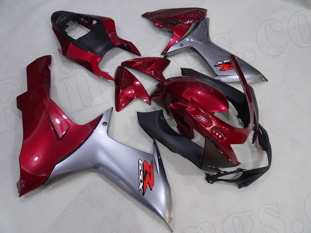 2011 to 2018 Suzuki GSX-R600/750 red and silver fairings.