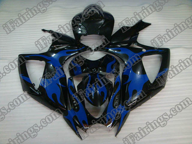 Custom fairings for 2006 2007 GSXR600/750 black and blue flame.