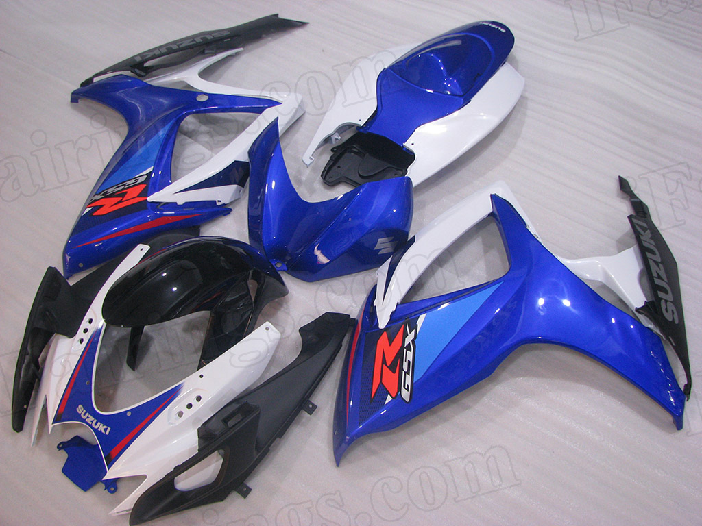 Motorcycle fairings for 2006 2007 Suzuki GSXR600/750 blue/black/white scheme.