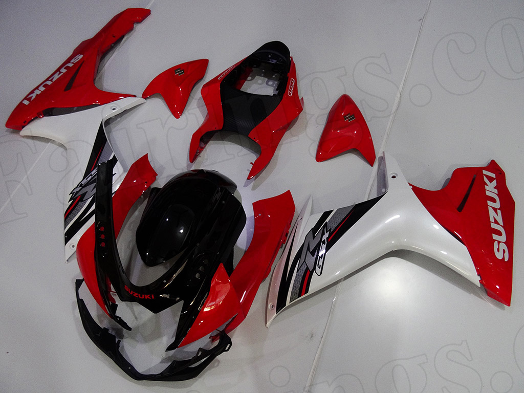 Motorcycle fairings for 2011 to 2014 Suzuki GSXR600/750 black/red/white scheme.
